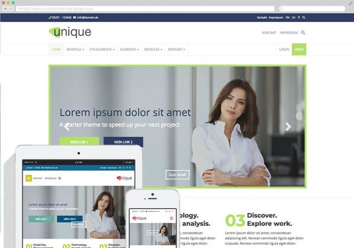 Responsives Contao Theme und Template Unique